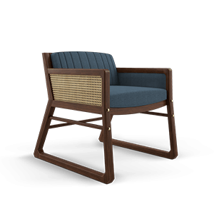 William Armchair with rattan and blue linen
