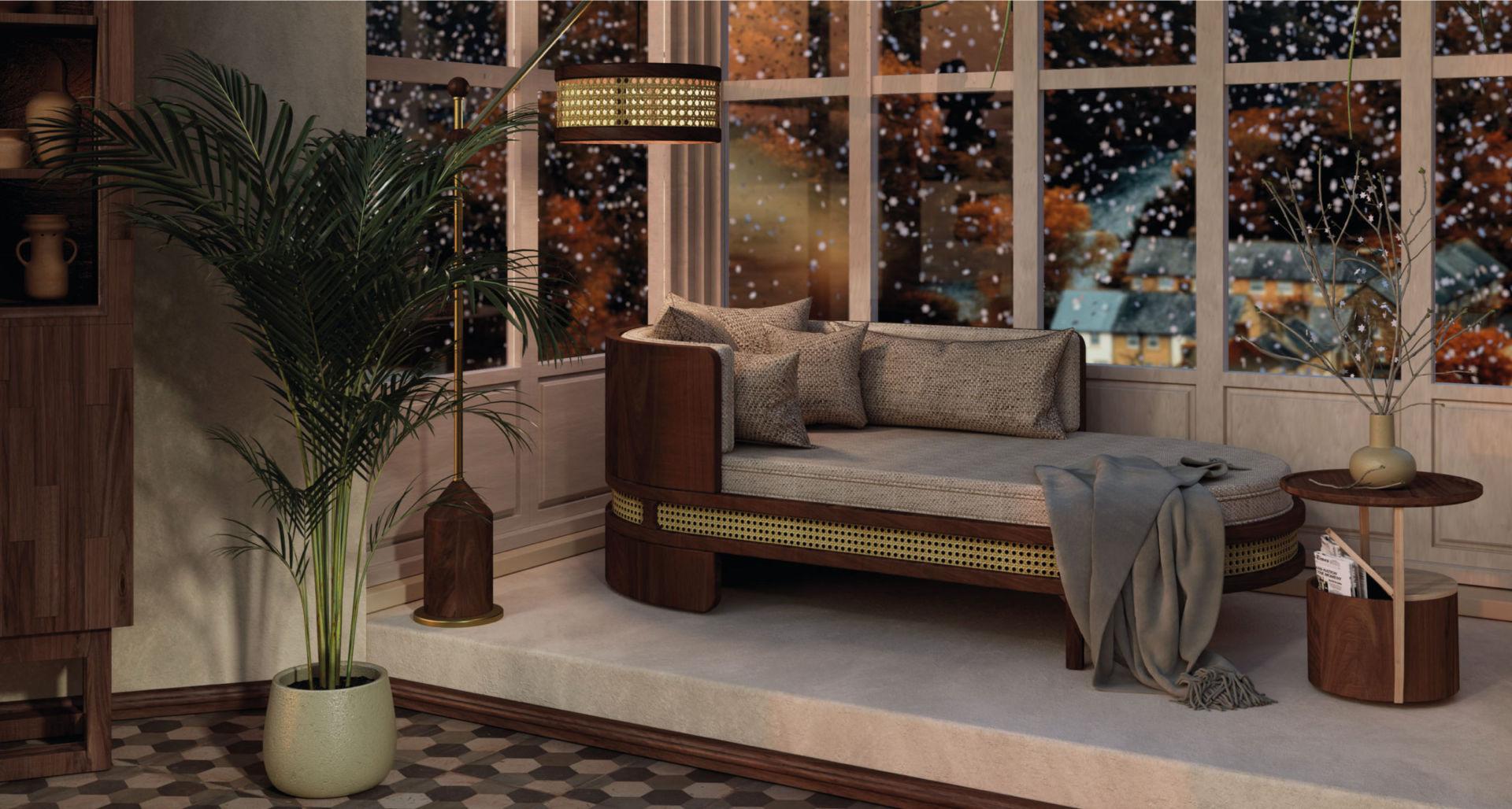 Winter Garden with Hamilton Floor Lamp, Brooks Chaise Longue and Burton side table