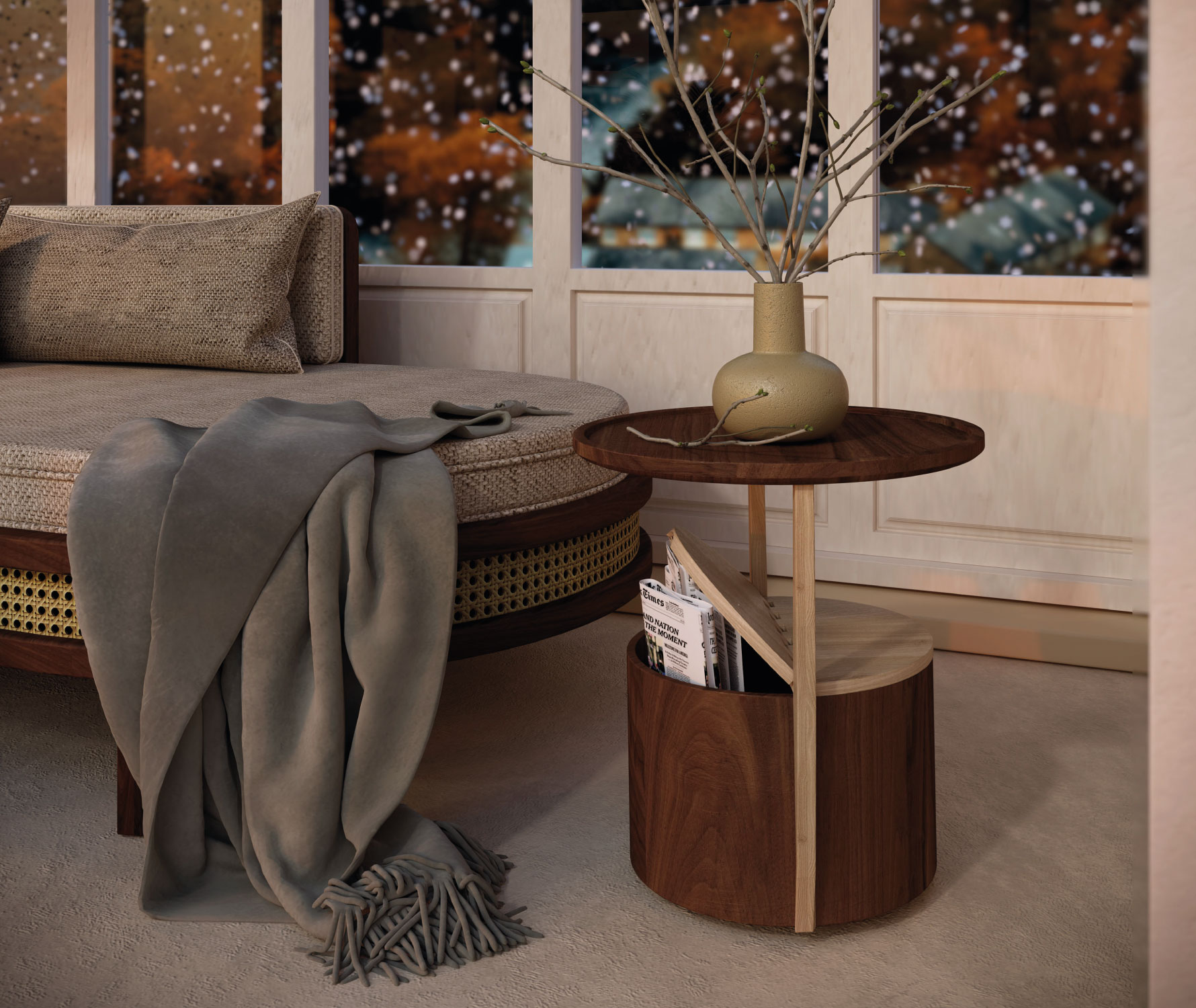 Winter Garden with Brooks Chaise Longue and Burton side table